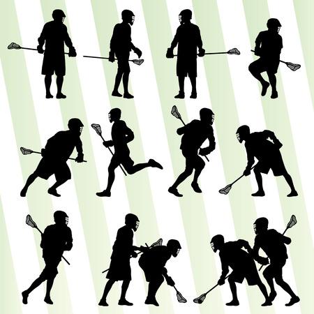 Lacrosse speler in actie vector achtergrond voor poster