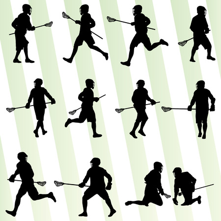 Lacrosse player in action vector background set for poster Vector