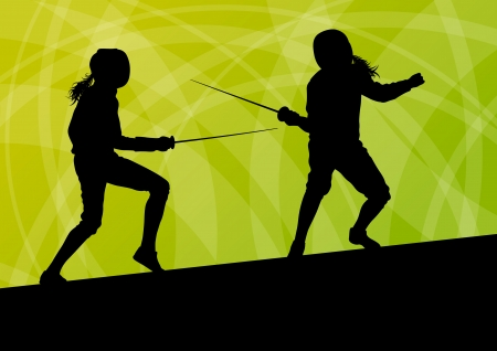 Sword fighters active young women fencing sport silhouettes vector abstract background illustration