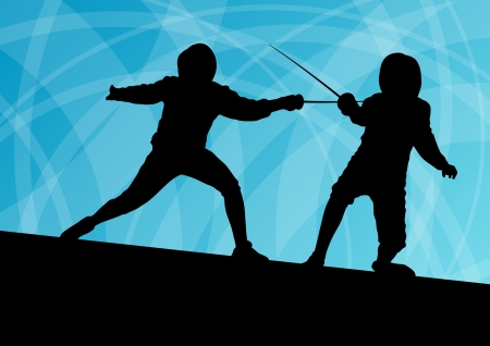 fencing sword: Sword fighters active young men fencing sport silhouettes vector abstract background illustration