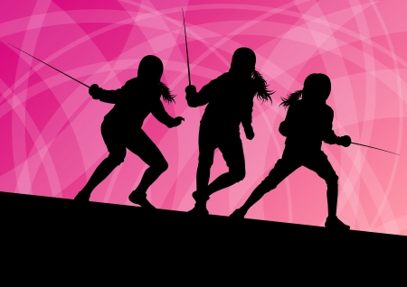 duel: Sword fighters active young women fencing sport silhouettes vector abstract background illustration