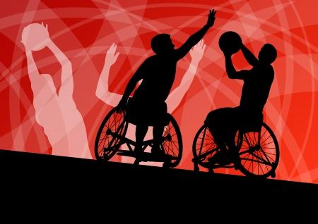Actieve gehandicapte jonge mannen basketballers in een rolstoel gedetailleerde sport concept silhouet illustratie achtergrond vector