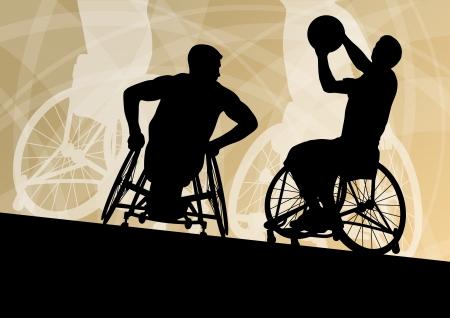 휠체어 자세한 스포츠 개념 실루엣 그림 배경 벡터에서 활약 장애인 젊은 남자 농구 선수