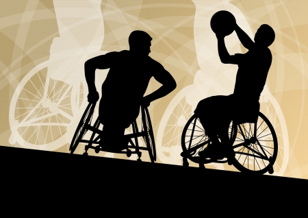silla de ruedas: Jugadores activos discapacitados jóvenes de baloncesto de un concepto de deporte silueta ilustración vectorial de fondo de silla de ruedas se detalla