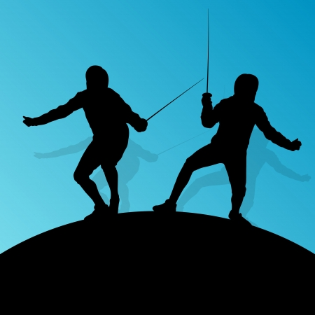 duel: Fencing active young teenager sword fighting sport silhouettes vector abstract background illustration Illustration