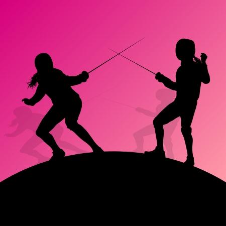 Szermierka aktywnych młodych nastolatek Mieczami sportowe sylwetki wektor Streszczenie ilustracji Ilustracje wektorowe