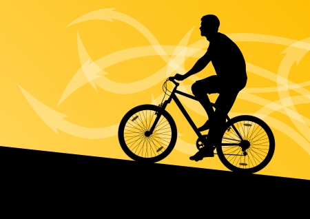 active arrow: Active man cyclist bicycle rider in abstract arrow line landscape background illustration vector Illustration