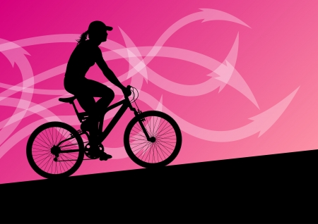 woman hiking: Active woman cyclist bicycle rider in abstract arrow line landscape background illustration vector for poster Illustration