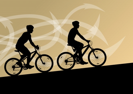 active arrow: Active man and woman cyclists bicycle riders in abstract arrow line landscape background illustration vector Illustration