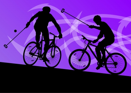 active arrow: Bike polo game players active men cyclists bicycle riders in abstract arrow line landscape background illustration vector Illustration