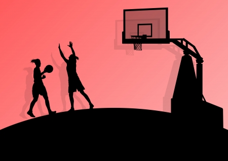 layup: Basketball players young active sport silhouettes vector background abstract illustration