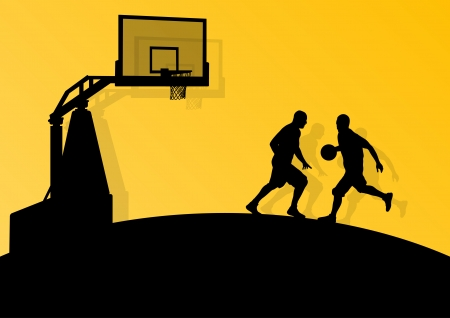 Basketball players young active sport silhouettes vector background abstract illustration