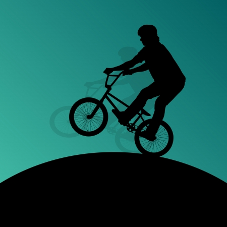 Extreme cyclists bicycle riders active children sport silhouettes for poster Vector
