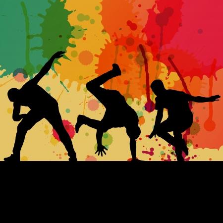 Boy dance silhouette vector color splash background  Vector