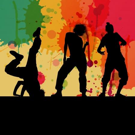 Girl dance silhouette vector color splash background