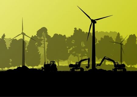 Windstromgeneratoren mit Strom Ingenieure in der Landschaft Feld Baustelle Landschaft