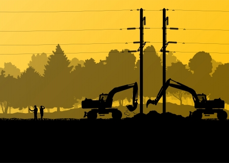 Electricity high power voltage line with construction engineers and excavator loaders and tractors in countryside forest field construction site landscape illustration