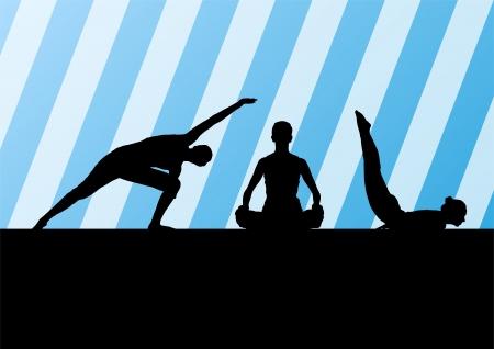Yoga silhouettes Stock Vector - 25195262