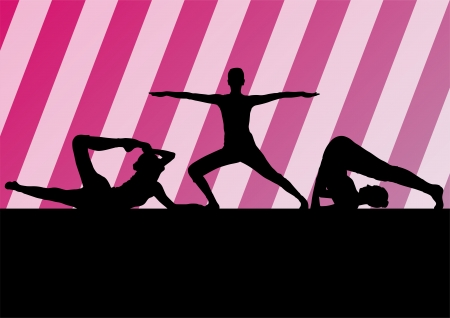 Yoga silhouettes vector background Vector