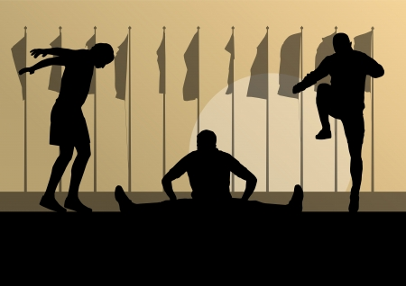 warming up: Man stretching exercise warming up vector background in front of flags