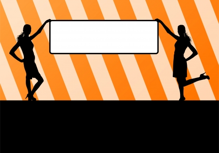 busness: Woman hold blank board, empty banner