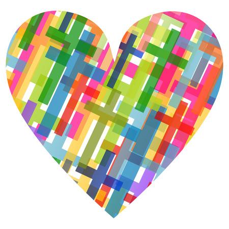 simbolos religiosos: Cristianismo religión cruz mosaico concepto corazón fondo abstracto