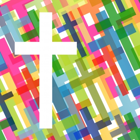 easter cross: Christianity religion cross mosaic concept abstract background