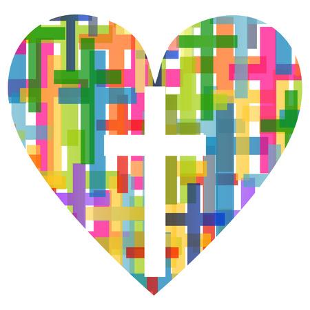cruz religiosa: Cristianismo religión cruz mosaico concepto corazón Vectores