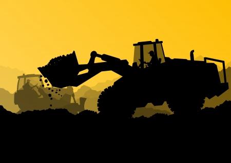 equipo: Cargadores bulldozer excavadora, tractores y trabajadores cavando en el sitio de construcción industrial Vectores