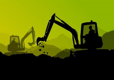 ショベル ブルドーザー フォーク リフト、トラクター、産業建設現場における採掘労働者  イラスト・ベクター素材