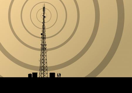 산업 개념 배경 벡터 엔지니어와 통신 이동 전화 기지국 라디오 타워 일러스트
