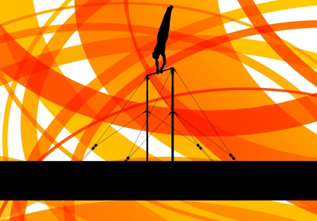 Gymnastics bar silhouette athlete vector abstract background c