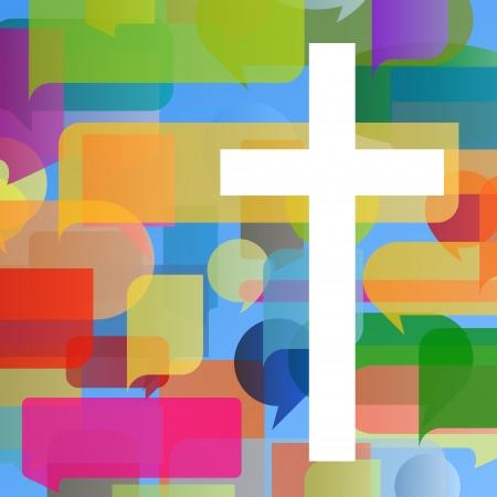 fede: Il cristianesimo religione concetto di mosaico croce astratto