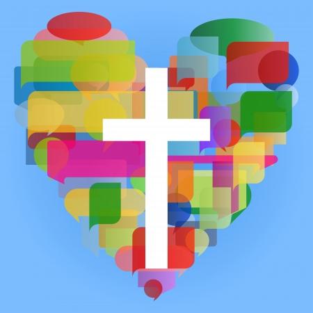 kruzifix: Christentum Religion Quermosaikherz Konzept abstrakten Hintergrund Illustration