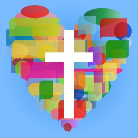 christian faith: Christianity religion cross mosaic heart concept abstract background Illustration