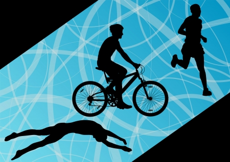 young boy in pool: Triathlon marathon active young men swimming cycling and running sport silhouettes collection
