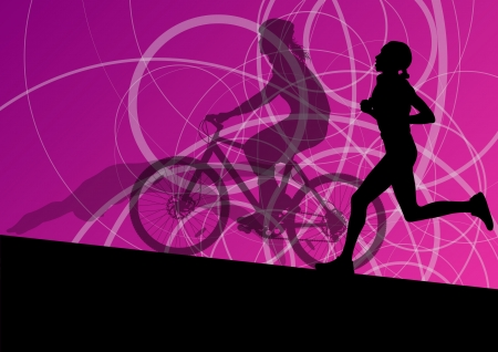 Triathlon marathon active young women swimming cycling and running sport silhouettes collection