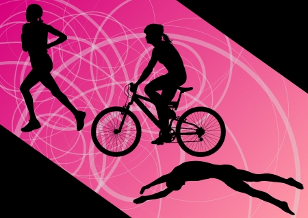 Triathlon marathon active young women swimming cycling and running sport silhouettes collection  Vector