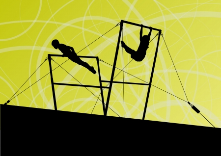 female athlete: Active children sport silhouettes on uneven bars  Illustration