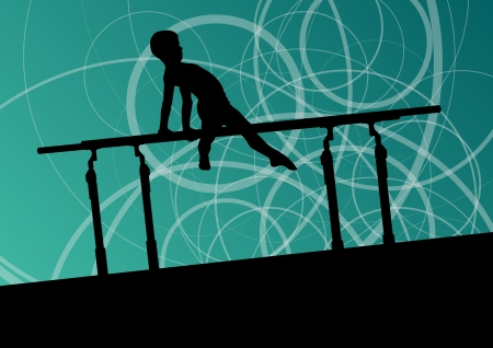 young gymnastics: Active children sport silhouette on parallel bars