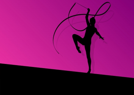 teen dance: Teenager gymnastics with ribbon vector abstract background  Illustration