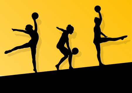 Active young girl gymnasts silhouettes in acrobatics ball Vector