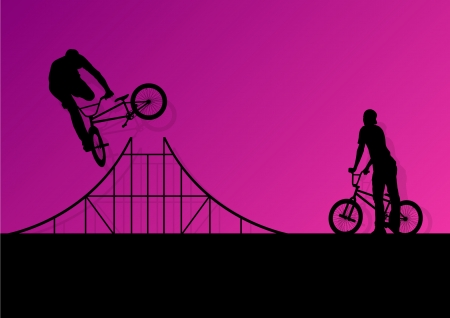 Extreme cyclists bicycle riders active children sport silhouettes  Vector