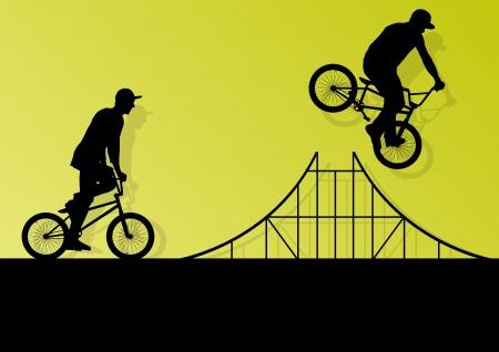 niños en bicicleta: Ciclistas extremos los ciclistas activos niños siluetas deportivas Vectores