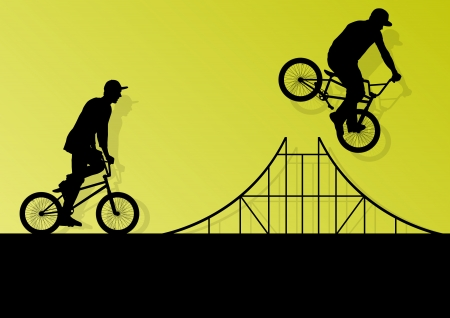 Extreme cyclists bicycle riders active children sport silhouettes  Illustration