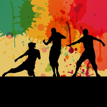 Girl dance silhouette vector color splash background concept for poster Vector