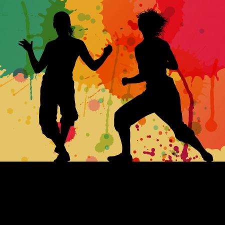 break dance: Girl dance silhouette vector color splash background