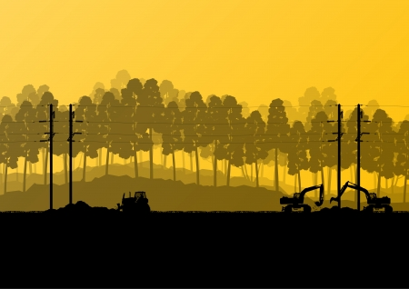 wind farm: Electricity high power voltage line with construction engineers and excavator loaders and tractors in countryside forest field construction site landscape illustration
