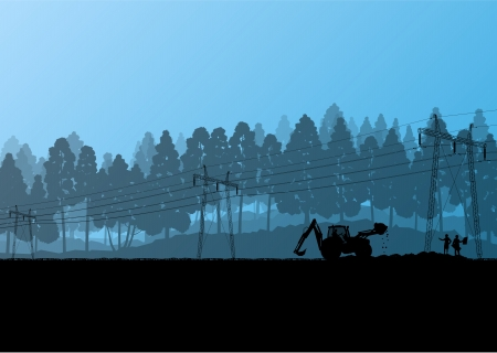 electrical tower: Electricity high power voltage line with construction engineers and excavator loaders and tractors in countryside forest field construction site landscape illustration