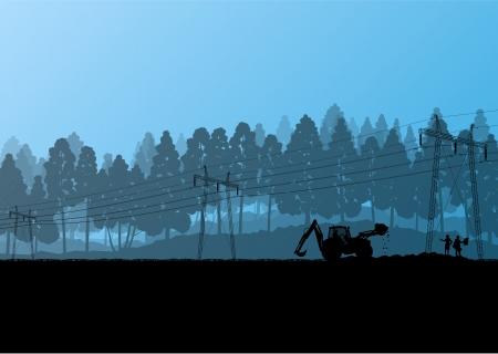 redes electricas: L�nea de alta tensi�n de energ�a el�ctrica con los ingenieros de construcci�n y palas cargadoras y tractores en campo forestales paisaje ilustraci�n obra de construcci�n de campo